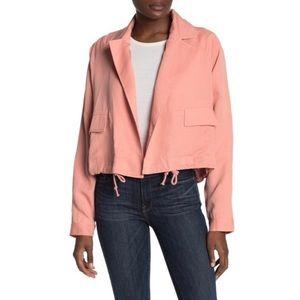 TULAROSA Arya Crop Notch Collar Jacket in Pink